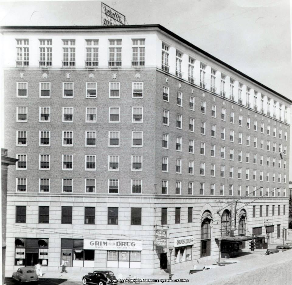 Black and white image of Hotel Grim side