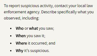 To report suspicious activity information
