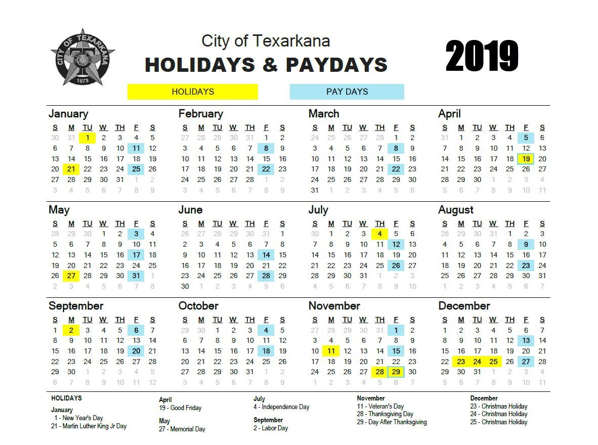 2019 Holiday/Payday Calendar