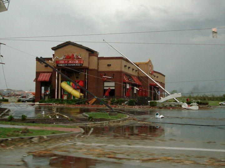 Restaurant still stands, despite having poles pushed onto it.