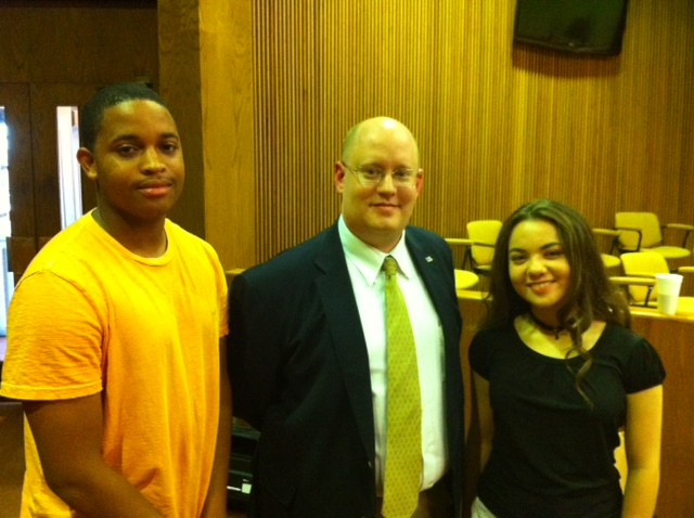 2011 Scholarship recipients - Kiante Boyd, Left - James Syler, center, Teen Court Board of Directors Vice-President - Haley Patillo, Right