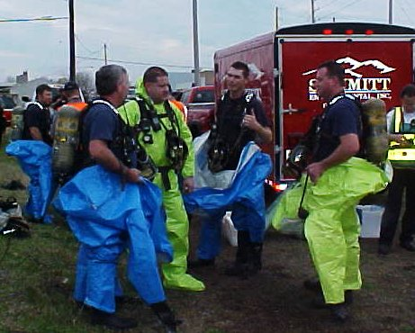 Group of fire fighters taking a break from the hard training day.